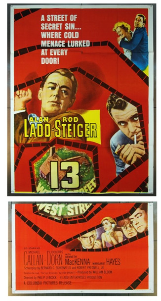 13 WEST STREET (1962) 10112 Original Columbia Pictures Three Sheet Poster (41x81).  Folded.  Very Fine.