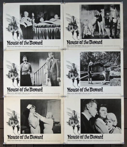 HOUSE OF THE DAMNED (1963) 2468 20th Century Fox Original Lobby Scene Cards (6)   11x14   Very Fine.
