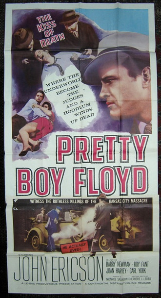 PRETTY BOY FLOYD (1960) 10110 Original Continental Distributing Three Sheet Poster (41x81).  Folded.  Very Good To Fine Condition.