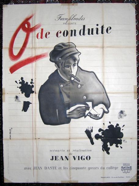 ZERO DE CONDUITE (1933) 24749 Original 1946 Re-Release French Grande Poster (47x63).  Folded.  Very Good.