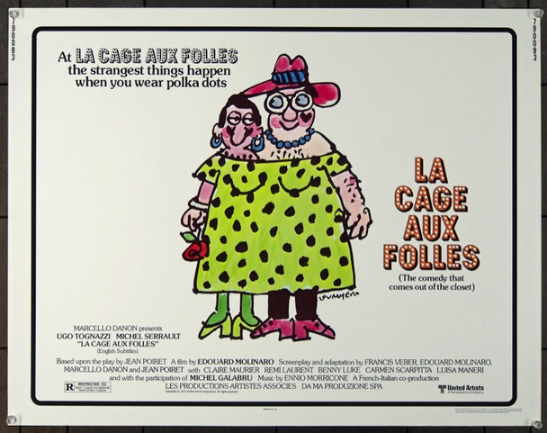 LA CAGE AUX FOLLES (1979) 24839 Original United Artists Half Sheet Poster (22x28).  Rolled.  Very Fine.