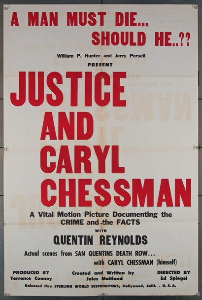 JUSTICE AND CARYL CHESSMAN (1960) 4143 Sterling Documentary One Sheet Poster (27x41).  Folded.   Very Fine Condition.  RARE