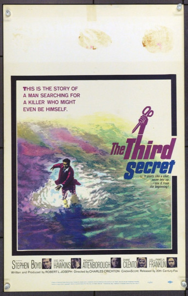 THIRD SECRET, THE (1964) 21939 Original 20th Century-Fox Window Card (14x22).  Unfolded.  Very Good Condition.