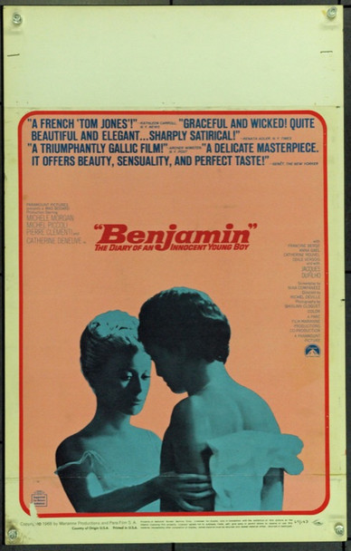 BENJAMIN (1968) 21835 Original Paramount Pictures Window Card (14x22). Unfolded.  Very Fine.