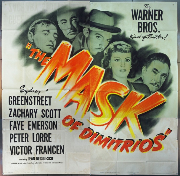 MASK OF DIMITRIOS (1944) 6538 Original Warner Brothers Six Sheet Poster (81x81).  Folded.  Very Fine.