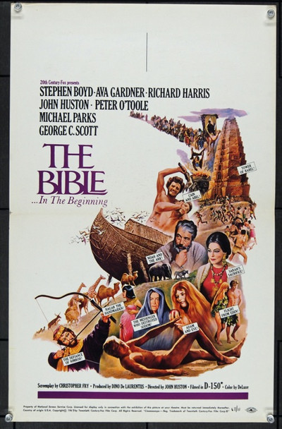 BIBLE: IN THE BEGINNING, THE (1966) 22444 20th Century Fox Original Window Card   14x22   Rolled   Very Fine Plus