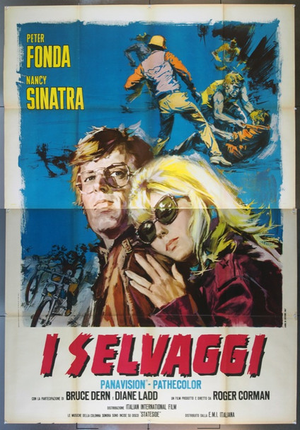 WILD ANGELS, THE (1966) 23038 Original Italian Four Panel Poster (55x79).  Folded.  Fine Plus Condition.  Art by Cesselon.