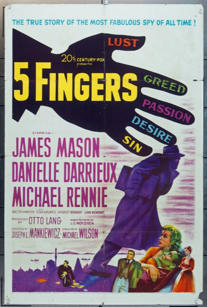 5 FINGERS (1952) 11057 20th Century Fox One Sheet Poster    27x41  Folded    Very Good.