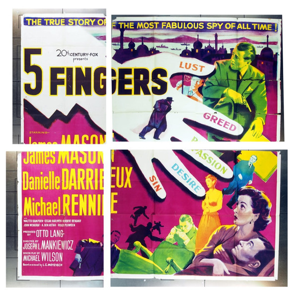 5 FINGERS (1952) 16083 20th Century Fox Original Six Sheet   81x81  Folded.   Good Condition