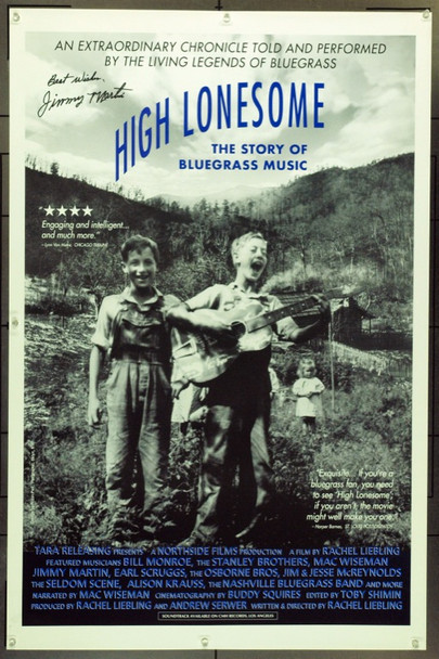 HIGH LONESOME : THE STORY OF BLUEGRASS MUSIC (1994) 15563 Original Tara Releasing One Sheet Poster (27x41).  Signed By Jimmy Martin.  Unfolded.  Very Fine.