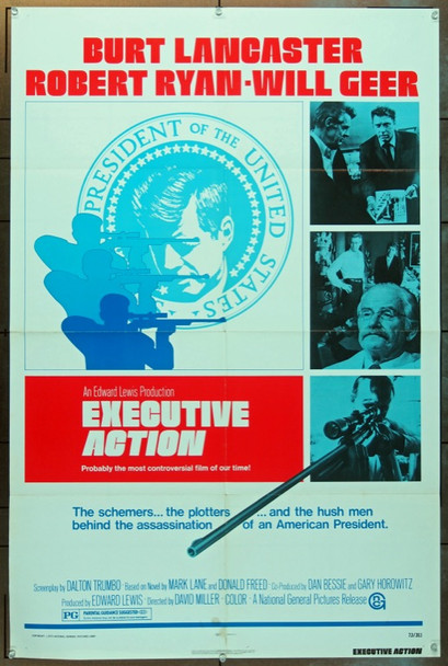 EXECUTIVE ACTION (1973) 8096 National General One Sheet Poster  27x41  Folded  Fine Plus Condtion.