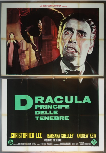 DRACULA PRINCE OF DARKNESS (1966) 24165 Original Italian Poster (55x79).  Folded.  Very Fine.