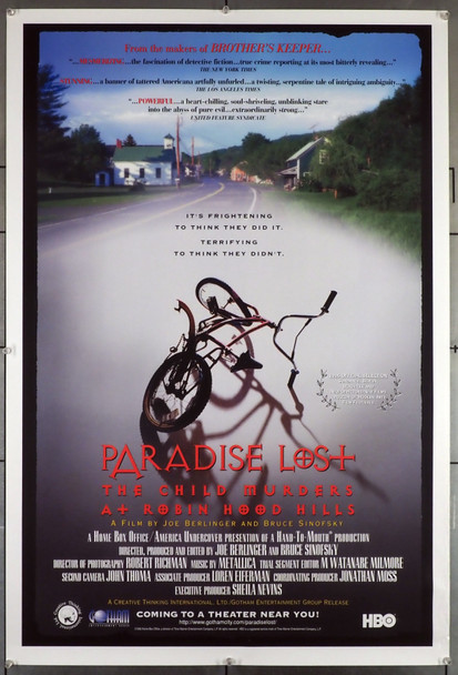 PARADISE LOST: THE CHILD MURDERS AT ROBIN HOOD HILLS (1996) 15566 Original Creative Thinking International Ltd. Style A One Sheet Poster (27x41).  Unfolded.  Very Fine.