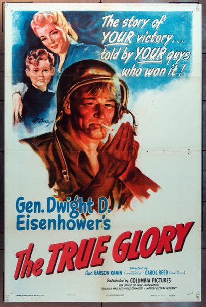 TRUE GLORY, THE (1945) 8426 Columbia Pictures One Sheet Poster   27x41  Folded  Very Good Condition