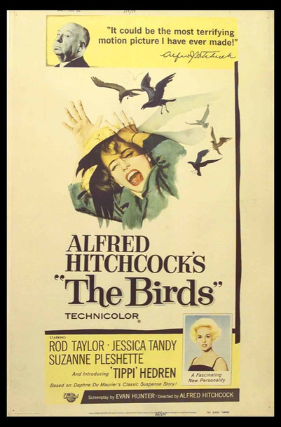 BIRDS, THE (1963) 13780 Original Universal Pictures 40x60 Poster.  Rolled.  Very Fine.