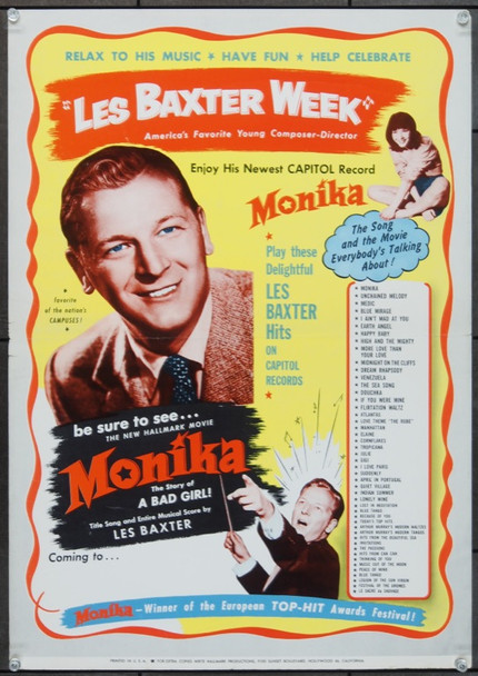 MONIKA (1953) 24868 Les Baxter Promotional Poster for MONIKA   16x22   Very Fine
