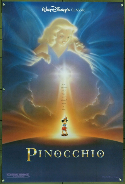PINOCCHIO (1940) &16602 Original Walt Disney Productions 1992 Re-Release One Sheet Poster (27x41).  Rolled.  Very Good