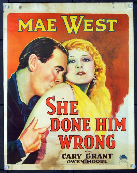 SHE DONE HIM WRONG (1933) 24873 Paramount Window Card  Trimmed to 14x18  Very Good to Fine