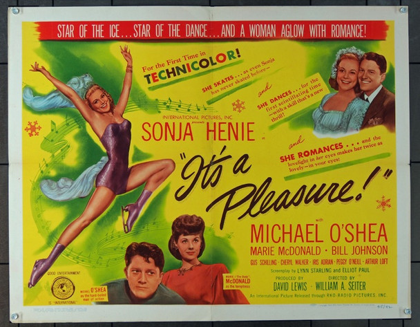 IT'S A PLEASURE (1945) 7400 Original RKO Half Sheet Poster (22x28).  Folded.  Very Fine Condition.