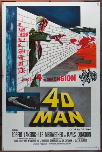 4D MAN (1959) 6385 Universal Pictures One Sheet Poster   27x41  Folded  Very Fine