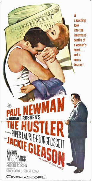 HUSTLER, THE (1961) 6928 20th Century Fox Three Sheet Poster.  Linen backed.  41 x 81  Very Fine Condition