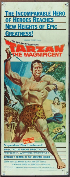 TARZAN THE MAGNIFICENT (1960) 11233 Original Paramount Pictures Insert Poster (14x36).  Good Condition Only.