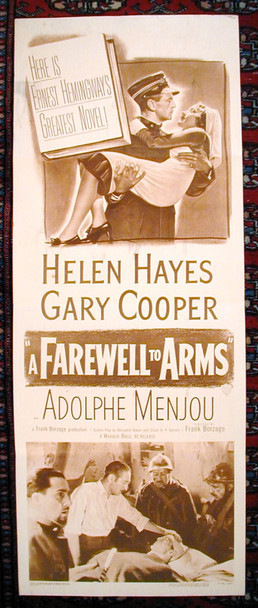 FAREWELL TO ARMS,  A (1932) &15145 Original Paramount Pictures 1949 Re-Release Insert Poster (14x36).  Sepia Toned.  Folded.  Fine Plus.
