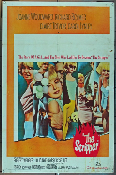 STRIPPER, THE (1963) 2435 20th Century Fox Original One Sheet Poster  27x41  Folded   Good condition