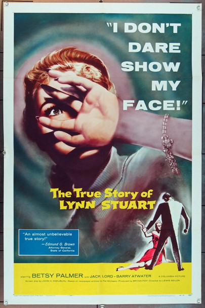 TRUE STORY OF LYNN STUART, THE (1958) 2436 Columbia Pictures One Sheet Poster    27x41   Folded   Very Fine Condition