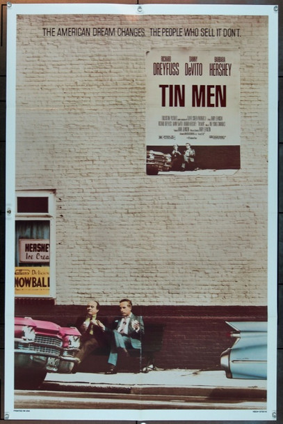 TIN MEN (1987) 3068 Original Touchstone Pictures One Sheet Poster (27x41).  Folded.  Very Fine Condition.