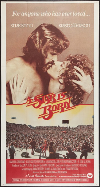 STAR IS BORN, A (1977) 16935 Warner Brothers Original Three Sheet   41x81  Folded.  Very Fine