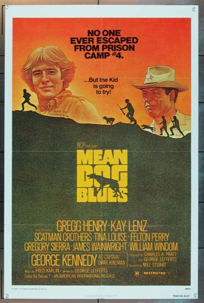 MEAN DOG BLUES (1977) 8267 American International One Sheet Poster   27x41  Folded  Very Fine