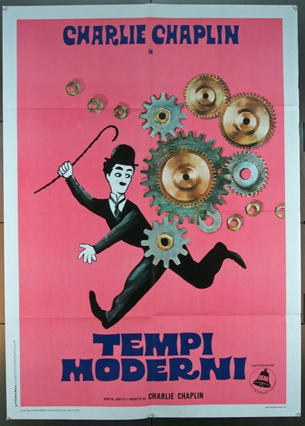 MODERN TIMES (1936) 1718   Original Italian 1972 Re-Release 2 Fogli Poster (39x55).  Folded.  Very Fine Condition.
