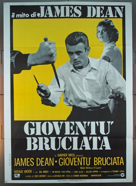 REBEL WITHOUT A CAUSE (1955) 1721 Warner Brothers Italian Due Foglie Poster   39x55  Folded  Very Fine.