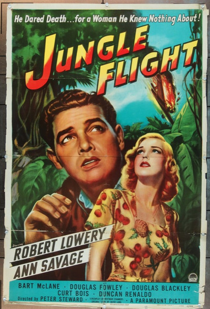 JUNGLE FLIGHT (1947) 6232 Original Paramount Pictures One Sheet Poster (27x41).  Folded.  Very Good.