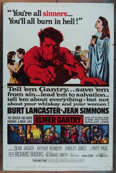 ELMER GANTRY (1960) 6228 Original United Artists One Sheet Poster (27x41).  Folded.  Fine Plus.