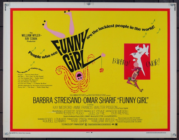 FUNNY GIRL (1968) 821 U.S. Half Sheet Poster   22x28  Never folded.  Very Fine Plus