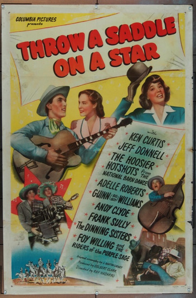 THROW A SADDLE ON A STAR (1946) 6227 Original Columbia Pictures One Sheet Poster (27x41).  Folded.  Fine Condition.