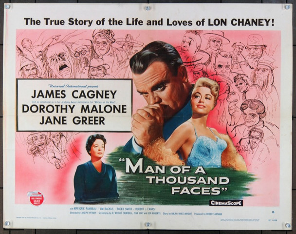 MAN OF A THOUSAND FACES (1957) 934 Universal Original Half Sheet Poster  22x28  Folded.   Fine Plus to Very Fine Condition