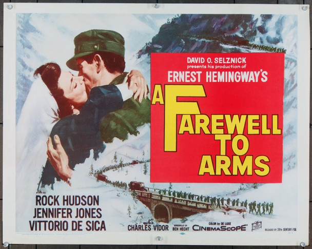 FAREWELL TO ARMS, A (1958) 932 Selznick Studios Original Half Sheet Poster    22x28   Unfolded  Fine Plus to Very Fine