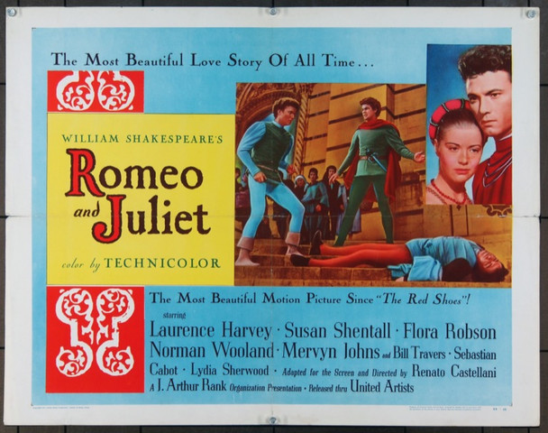 ROMEO AND JULIET (1954) 973 Original United Artists Half Sheet Poster (22x28).  Folded.  Fine.