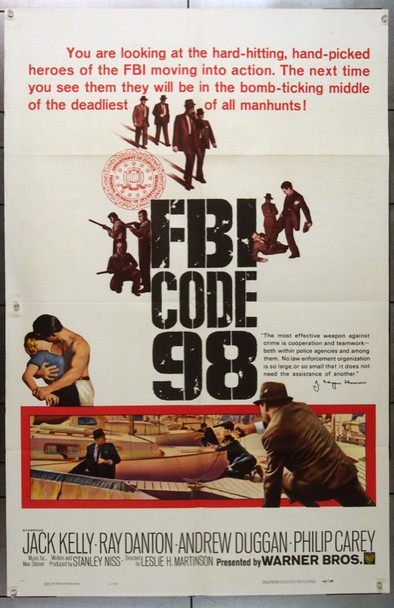 FBI CODE 98 (1964) 11277 Original Warner Brothers One Sheet Poster (27x41) .  Folded.  Very Good Condition.