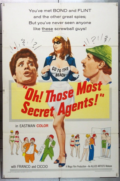 OH! THOSE MOST SECRET AGENTS! (1966) 11276 Allied Artists Original One Sheet Poster   27x41  Very Good to Fine