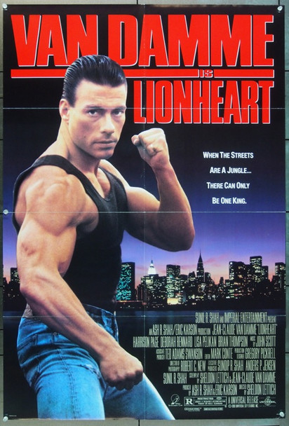 LIONHEART (1991) 5832 Original Universal Pictures One Sheet Poster (27x41).  Folded.  Very Fine Plus Condition.