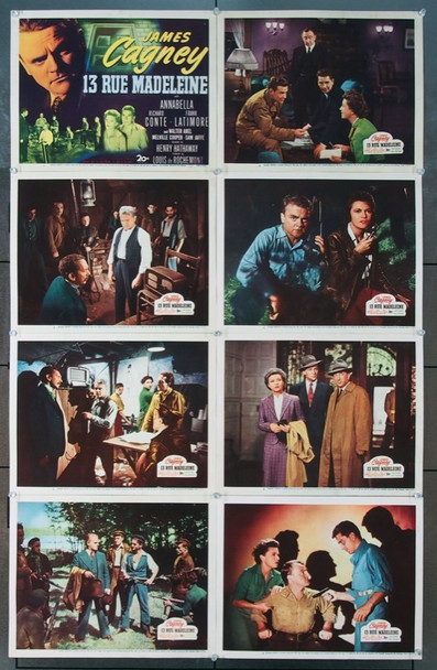 13 RUE MADELEINE (1946) 6513    20th Century Fox Lobby Card Set   8 11x14 cards   Very Fine Plus