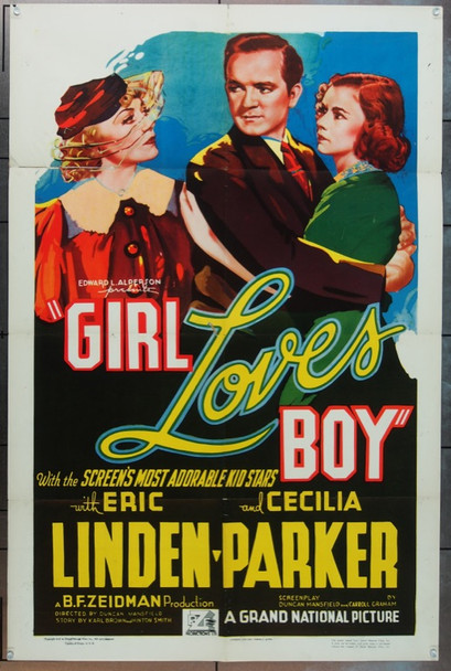 GIRL LOVES BOY (1937) 9101 Original Grand National Pictures One Sheet Poster (27x41).  Folded.  Fine Plus.