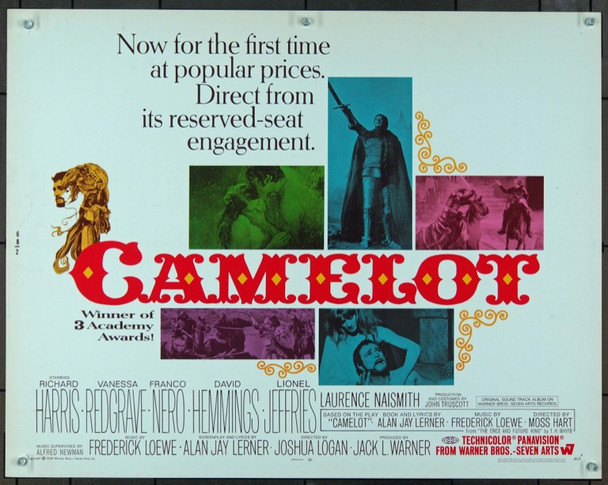 CAMELOT (1968) 833 Warner Brothers Original Half Sheet Poster   22x28  Rolled   Very Fine