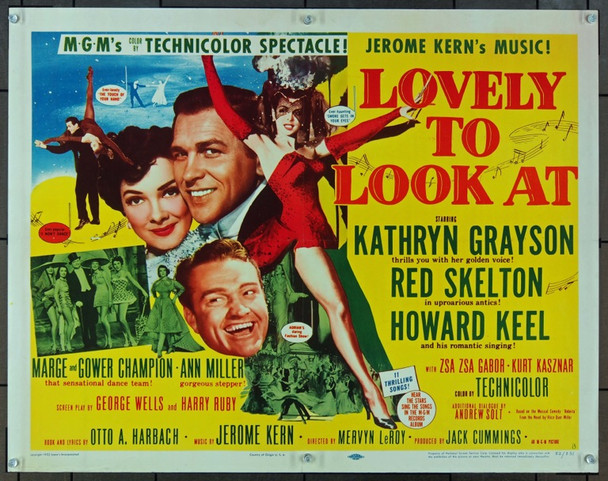 LOVELY TO LOOK AT (1952) 841 MGM Original Half Sheet Poster   22x28   Folded  Very Fine Condition