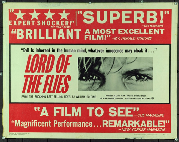LORD OF THE FLIES (1963) 16441 Original Continental Distributing Half Sheet Poster (22x28). Good To Very Good Condition.
