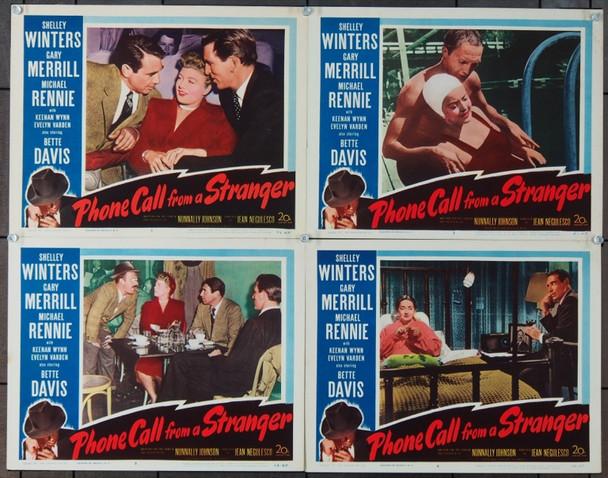 PHONE CALL FROM A STRANGER (1952) 4319 20th Century Fox Lobby Card Group  (11x14)   Four cards.   Very Fine Plus.